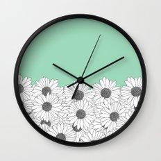 Daisy Boarder Mint Wall Clock