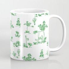 Green Toile Unicorn Mug