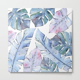 Watercolor Tropical Leaves IV Metal Print