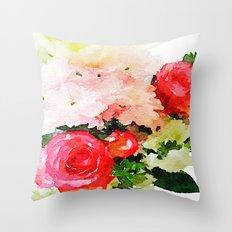 Garden Roses Watercolor Throw Pillow