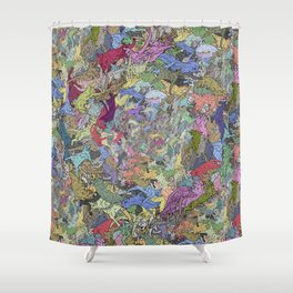 Colorful Flying Cats Shower Curtain