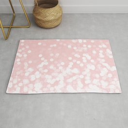 Mermaid Art, Sparkly Ocean Print, Pink and White Rug