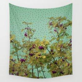 Rowan tree and purple polka dots Wall Tapestry