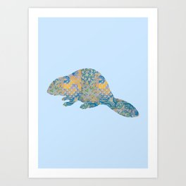 Beaver Vintage Floral Pattern Rustic Country Shabby Chic Blue Yellow Orange Grey Art Print