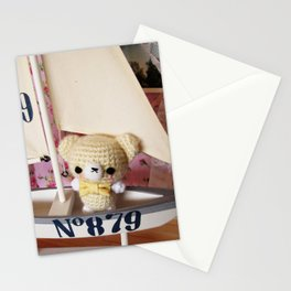 Kawaii Adorable Cute Amigurumi Crochet Bear on a Sail Boat Stationery Cards