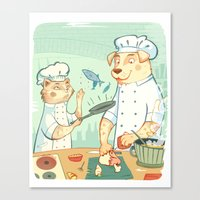 cooking Canvas Prints featuring Cooking! by Laura Perez Illustration