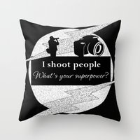 aperture Throw Pillows featuring I Shoot People by LLL Creations