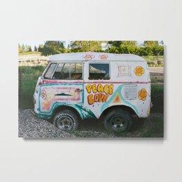 Peace And Love Van Metal Print