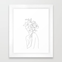 Minimal Line Art Woman with Orchids Framed Art Print