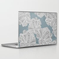 gray pattern Laptop & iPad Skins featuring Gray Roses Pattern - Blue  by Sweet Karalina