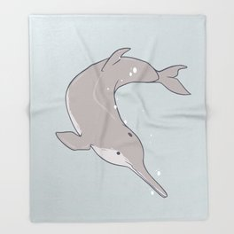 Baiji Dolphin Throw Blanket