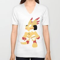 digimon V-neck T-shirts featuring Rapidmon  by JHTY