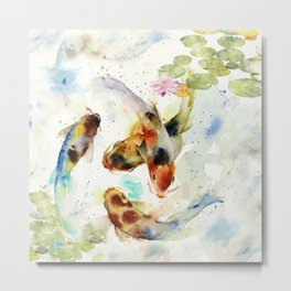 Watercolor Koi Pond Metal Print