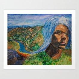 Waterfall Self-Portrait Art Print