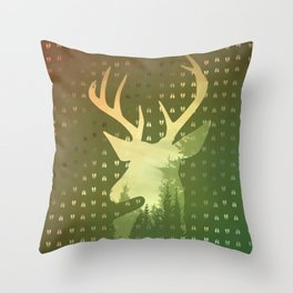 Golden Deer Abstract Footprints Landscape Design Throw Pillow
