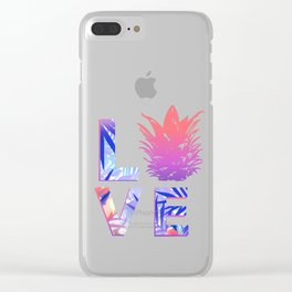 Love Pineapple Typography Tropical Boho Summer Vibes Clear iPhone Case