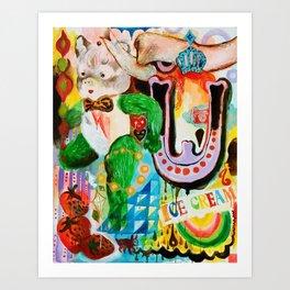 broken teddy bear, ice cream and you Art Print