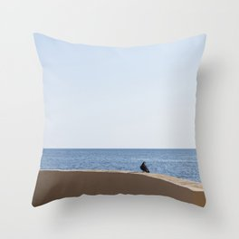 In front of the sea Throw Pillow