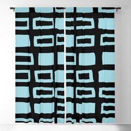 Mid Century Modern Abstract Squares Pattern 541 Black and Light Blue Blackout Curtain