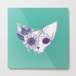Green and Purple Sunflower Sphynx Cat Skull - Floral Gothic Metal Print