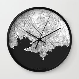 Montevideo Map Gray Wall Clock