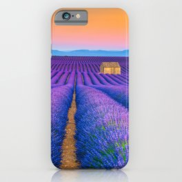 Blooming Lavender Field & Sunset Floral Landscape Photograph iPhone Case