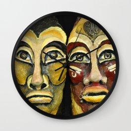 Tribal design portrait Wall Clock