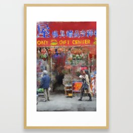 NYC Chinatown Illustration Oil Painting Acrylic Art New York City Decor Streets Brooklyn Manhattan Framed Art Print