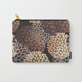 Copper Dahlia Floral Pattern Carry-All Pouch