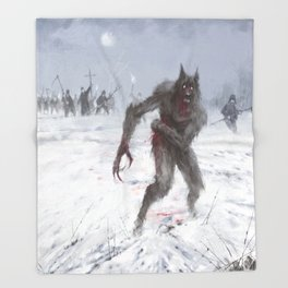 Wounded Wolf Throw Blanket