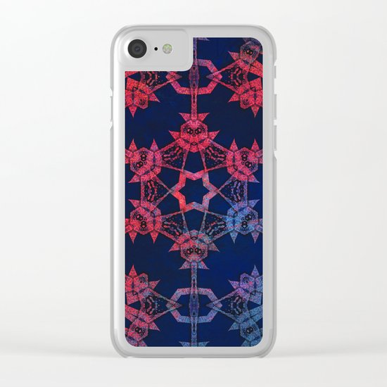 Blue and red glow tribal mandala Clear iPhone Case