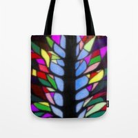 stained glass Tote Bags featuring Stained Glass by Sartoris ART
