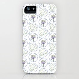 Violet green watercolor modern floral leaves pattern iPhone Case