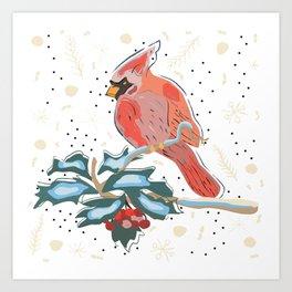 Cute Cardinal Bird Art Print