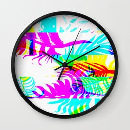 Glitch botany palm leaves set and summer jungle watercolor palm. Wall Clock