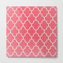 Constantine Lattice Coral Pink Metal Print