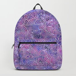 Purple and faux silver swirls doodles Backpack