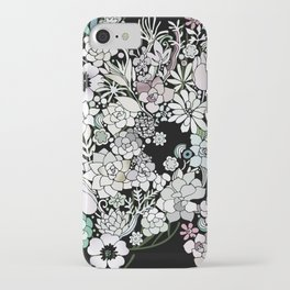 Colorful black detailed floral pattern iPhone Case