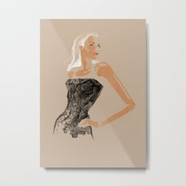 Black Lace Metal Print