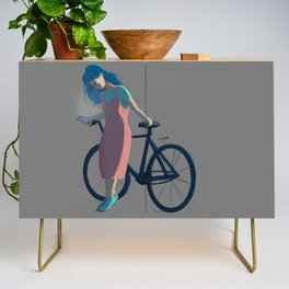 Bicycle Blue Hair Girl Credenza