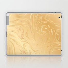 Liquid Gold Marble. Trendy golden ink marbling texture. Suminagashi art. Laptop & iPad Skin