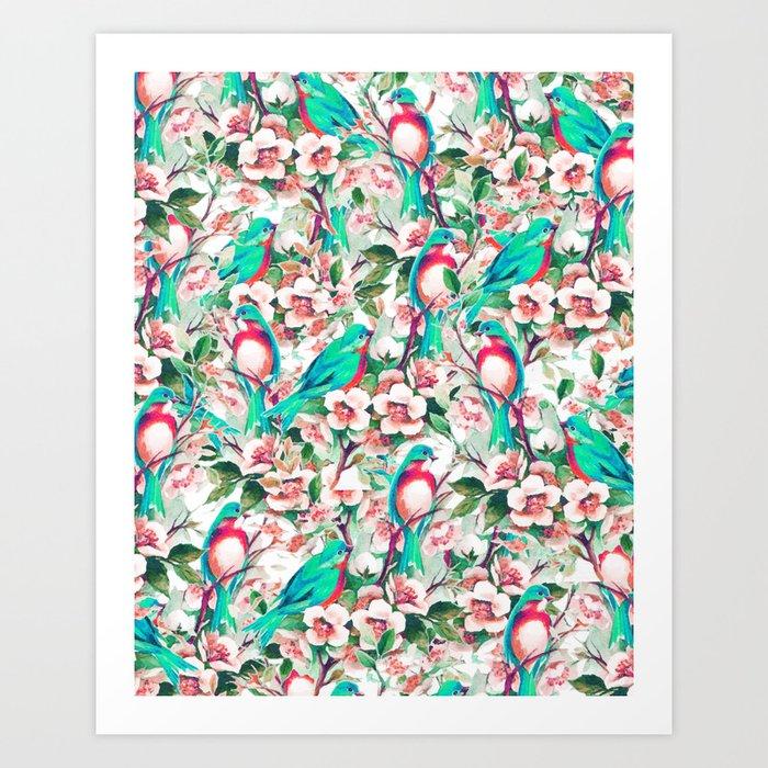 Birds & Flowers #society6 #decor #buyart Art Print