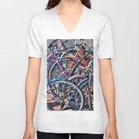 bicycles V-neck T-shirts featuring Lots of colorfull bicycles by Claude Gariepy