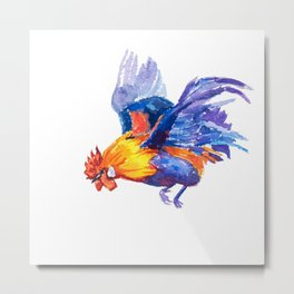 Watercolor of flying bantam Metal Print