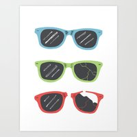 sunglasses Art Prints featuring Sunglasses by Things and Other Things