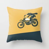 grease Throw Pillows featuring jump by The Junkers