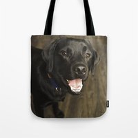 lab Tote Bags featuring Black Lab by Every Dog Has a Story