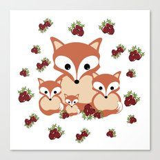 Family of foxes in winter Canvas Print