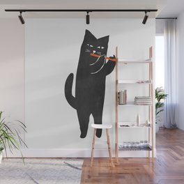 Black cat with flute Wall Mural