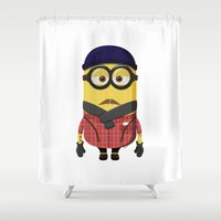 minion Shower Curtains featuring Hipster Minion by Henrik Norberg
